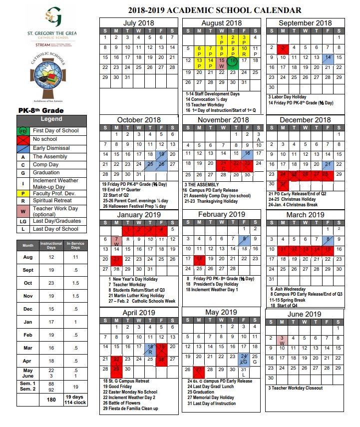 2018 2019 stg school calendar